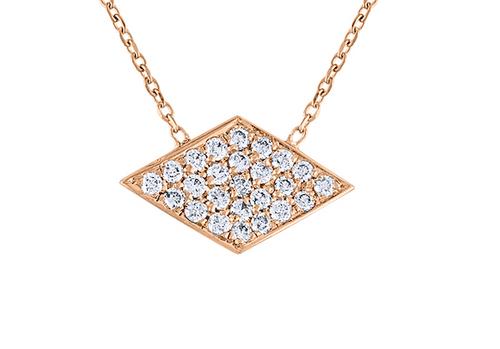 Exquisite Pave Diamond  Rhombus Necklace, 14K Rose Gold Sideway Diamond Argyle Necklace, Unique Hand Crafted 14K Rose Gold Diamond Necklace