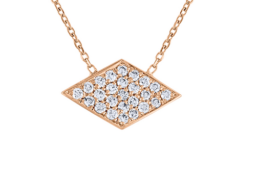 Exquisite Pave Diamond  Rhombus Necklace, 14K Rose Gold Sideway Diamond Argyle Necklace, Unique Hand Crafted 14K Rose Gold Diamond Necklace