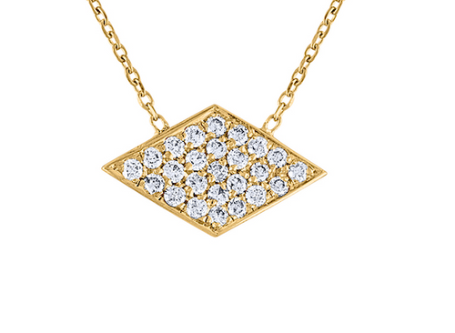Very Unique Pave Diamond  Argyle Necklace, 14K Yellow Gold Diamond  Rhombus Necklace, Exquisite Hand Crafted 14K Yellow Gold Diamond Necklace