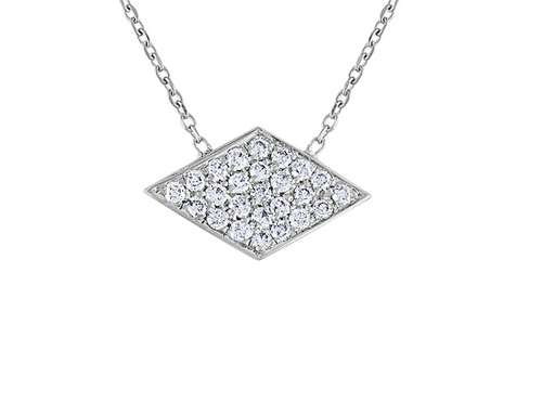 Unique Diamond  Argyle Rhombus Necklace, 14K White Gold Diamond  Rhombus Necklace, Exquisite Hand Crafted 14K White Gold Diamond Necklace