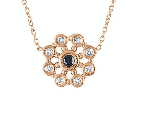 Exquisite Diamond Rose Gold Statement Necklace, 14K Rose Gold Black Diamond Pendant , Unique Stardust Signature Necklace