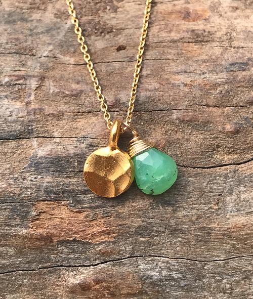 14K Yellow Gold Chrysoprase Semi Precious Gemstone Gold Hammered Charm Necklace, Gem Drop Necklace