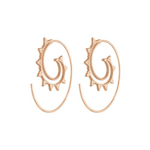 Unique 14K Rose Gold Tibetan Hoop Earring, Exquisite Spiral Rose Gold Hoop Earring, Tribal Rose Gold Earring