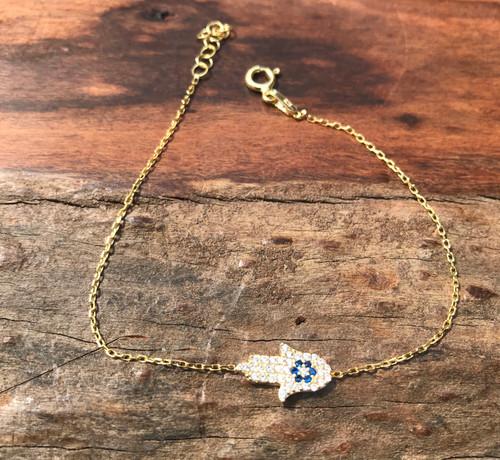 14K Yellow Gold Diamond Hamsa Charm Bracelet, Hamsa Charm Bracelet, Diamond Hamsa Bracelet, Hand Made CZ Gold Hamsa Charm Bracelet