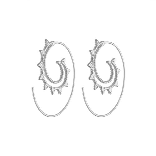 Exquisite Sterling Silver Tibetan Hoop Earrings, Spiral Silver  Hoop Earrings, Tribal Silver Earrings, 925 Sterling Silver Designer Hoop Earrings