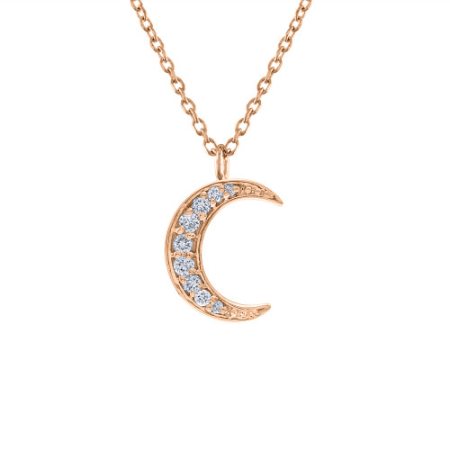 14K Rose Gold Diamond Crescent Necklace, Diamond Moon Pendant, Diamond Moon Necklace 14K Rose Gold, Hand Made Gold Pave Moon Necklace , Gift