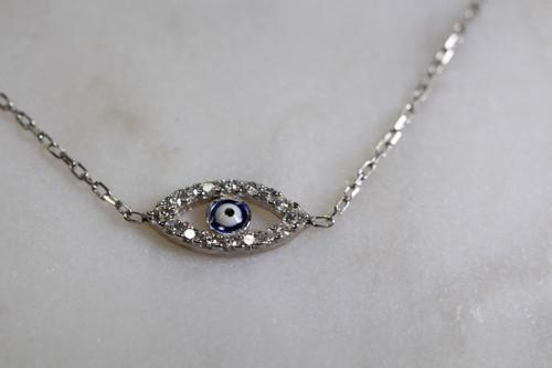 Sterling Silver Unique Evil Eye Bracelet, Hand Crafted CZ Evil Eye Damond Bracelets, Sterling Silver Protection Bracelet