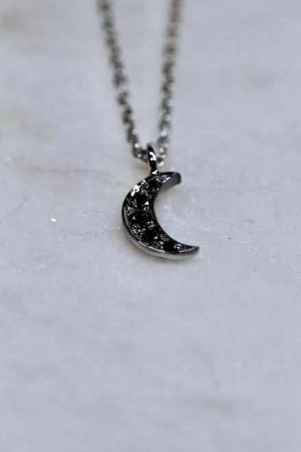 14K White Gold Black Diamond Moon Necklace