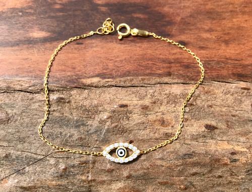14K Yellow Gold Unique Evil Eye Bracelet, Hand Crafted CZ Evil Eye Damond Bracelets, Exquisite Yellow Gold Protection Bracelet