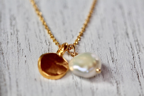 Exquisite 14K Yellow Gold Pearl Drop Hammered Charm Necklace, Unique Pearl Drop Necklace