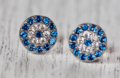 Unique Sterling Silver Stud Earrings, Hand crafted Exquisite Pave Evil Eye Earrings,