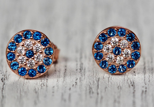 14K Rose Gold Unique Evil Eye Stud Earrings, Hand crafted Exquisite Pave Evil Eye Earrings