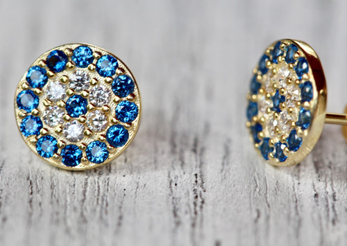 14K Yellow Gold Unique Evil Eye Stud Earrings, Hand crafted Exquisite Pave Evil Eye Earrings