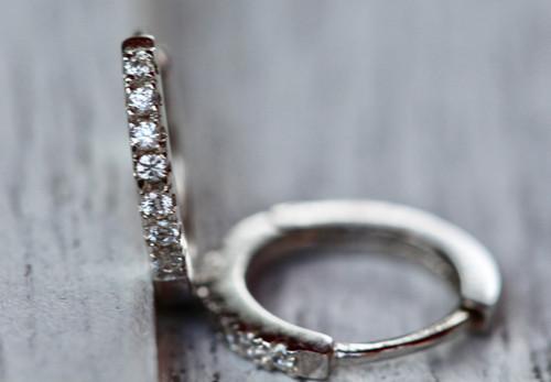 Sterling Silver Tiny Diamond Huggie Earrings, Silver Small Diamond Hoops, Diamond Silver Huggie Earrings