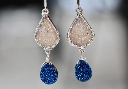 Exquisite Titanium Drusy Drop Earrings, Sterling Silver Unique Drusy Earrings,  One Of A Kind Drusy Drop Earrings