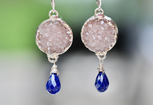 Lapis Lazuli Drusy Dangle Earrings, Drusy & Lapis Drop Silver Earrings, Unique Drusy Earrings