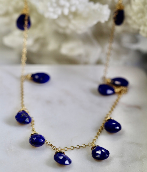 Beautiful hand Crafted Unique 14K Yellow Gold Lapis Lazuli Necklace, Lapis Lazuli Drop Necklace, Lapis Lazuli Statement Necklace