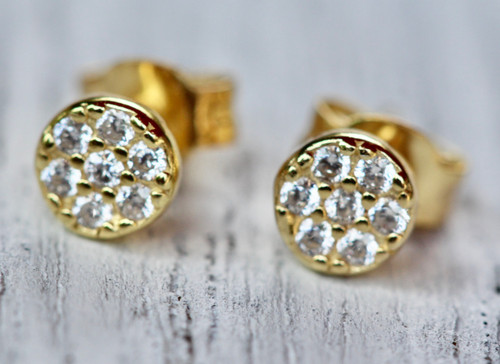 Tiny Pave Stud Earring, 14K Yellow Gold Diamond Pave Stud Earring, CZ Stud Earring