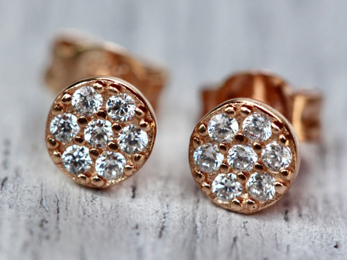 Rose Gold Tiny Pave Stud Earring, 14K Rose Gold Diamond Pave Stud Earring, CZ Stud Earring