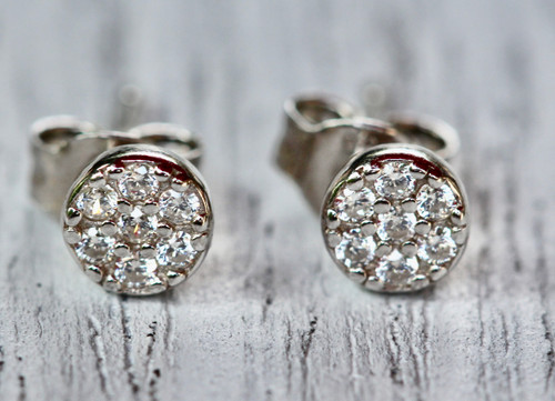 Sterling Silver Tiny Pave Stud Earring, Silver Diamond Pave Stud Earring, CZ Stud Earring