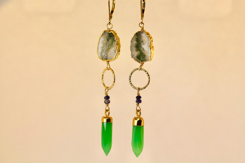 Solar Agate, Chrysoprase, And Sapphire Earrings, Dangling Gemstone Earrings