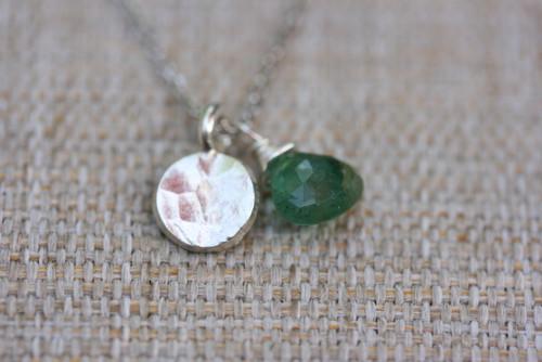 925 Sterling Silver Emerald Precious Gemstone Hammered Charm Necklace, Sterling Silver Charm Necklace, Emerald Pendant