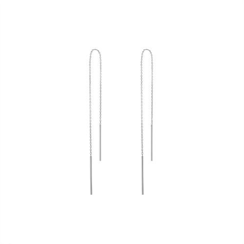 14K White Gold Wire Threader Earrings
