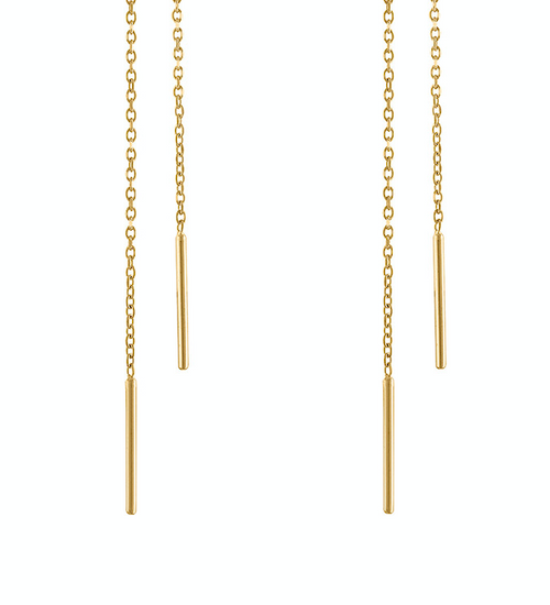 Exquisite Yellow Gold Chain Earrings