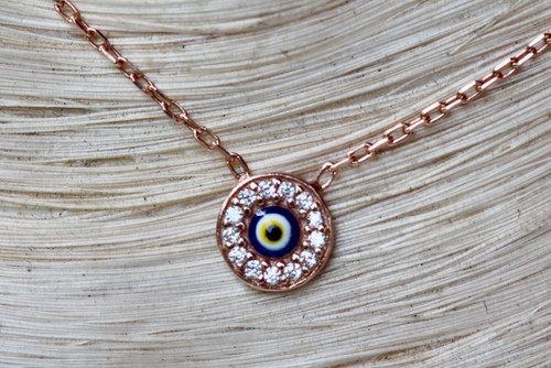 Tiny Rose Gold Evil Eye Necklace, Diamond Rose Gold Evil Eye Necklace, Hand Made Evil Eye Necklace