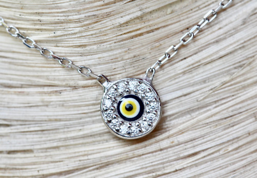 Sterling Silver Evil Eye Necklace, Diamond Silver Evil Eye Necklace, Hand Made Evil Eye Necklace 925 Sterling Silver