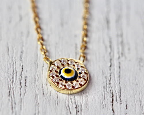14K Yellow Gold Diamond Evil Eye Necklace, Diamond Gold Evil Eye Necklace, Hand Made Evil Eye Necklace
