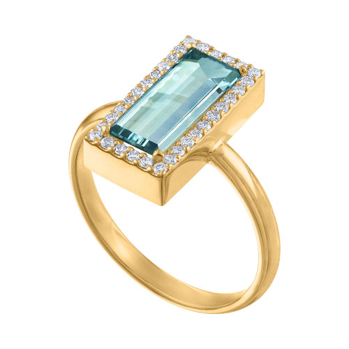 14K Aquamarine & Diamond Engagement Ring,  2.40 Carat Aquamarine Cocktail Ring