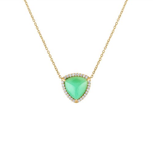 14K Yellow Gold Chrysoprase & Diamond Necklace, Statement Halo Diamond Pendant, Chrysoprase Necklace