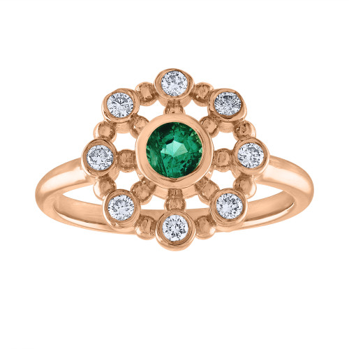 14K Rose Gold Emerald & Diamond Anniversary Ring, Vintage Style Rose Gold Emerald Cocktail Ring