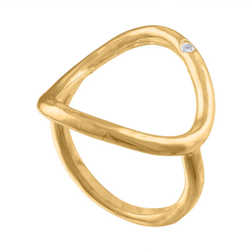 14K Yellow Gold Diamond Cocktail Ring, Diamond Gold Statement Ring,  Middle Finger Ring, Gold Ring