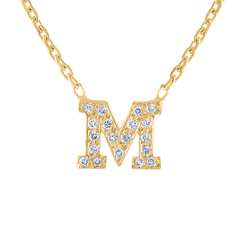 14K Diamond Gold Initial Necklace, Yellow Gold Diamond Letter Necklace,  Diamond Personalized Necklace