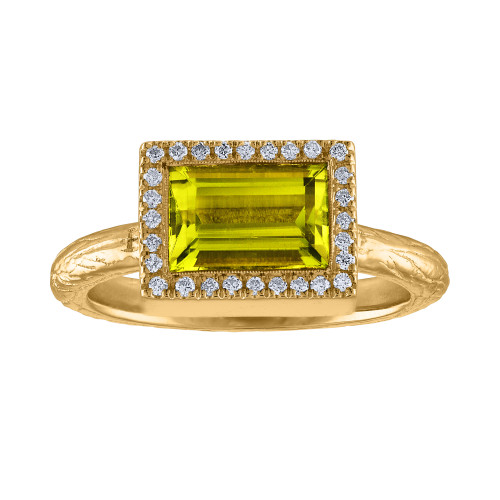 One Of A Kind Horizontal Diamond Peridot Engagement Ring,  14K Yellow Gold Diamond & Peridot Cocktail Ring