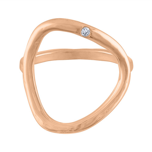 14K Rose Gold Diamond Cocktail Ring, Diamond Rose Gold Statement Ring,  Middle Finger Ring, Rose Gold Ring