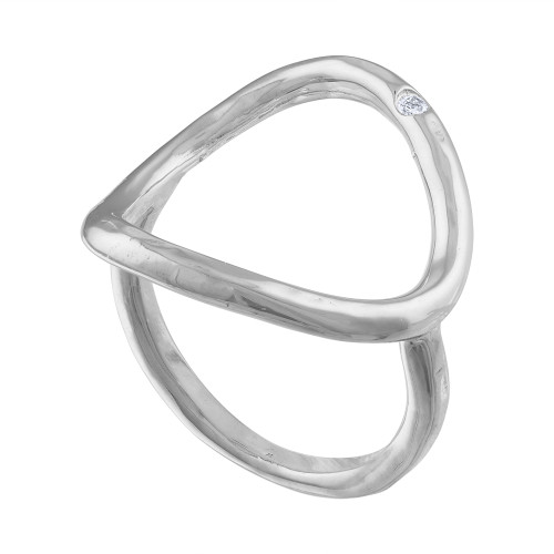 14K White Gold Diamond Cocktail Ring, Diamond White Gold Statement Ring,  Middle Finger Ring, White Gold Ring