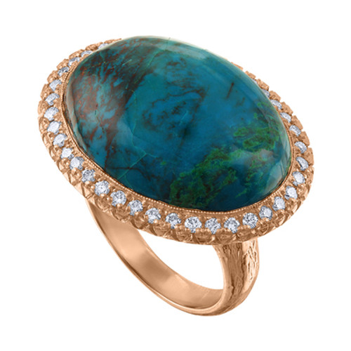 14K Rose Gold Exquisite Diamond And Chrysocolla Cocktail Ring, One Of A Kind Rose Gold Statement Ring