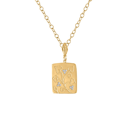 14K Yellow Gold Diamond Pendant, 14K Diamond Dog Tag Necklace, Hand Crafted Rectangle Diamond Pendant
