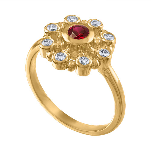 14K Yellow Gold Ruby & Diamond Cocktail Ring, Vintage Style Yellow Gold Diamond Anniversary Ring