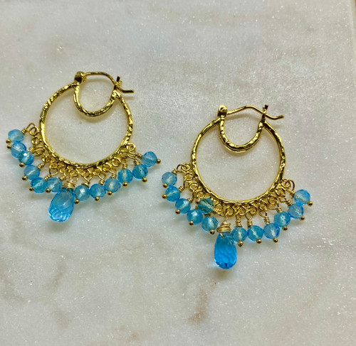14K Blue Topaz Hoop Earrings, Yellow Gold Blue Topaz Hoop Earrings, Hand Made Indian Hoop Earrings