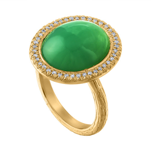 14K Yellow Gold Chrysoprase Diamond Anniversary Ring!