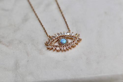 14K Rose Gold Vermeil Evil Eye Necklace