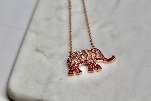 14K Rose Gold Vermeil Elephant Cubic Zirconia necklace.