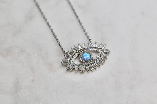 Sterling Silver Evil Eye Cz Necklace, Opal Necklace, Handmade