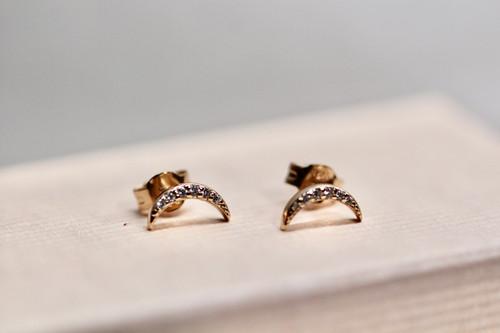 14K Rose Gold Diamond Pave Moon Earrings