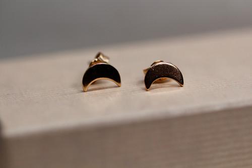 14K Rose Gold Moon Stud Earring