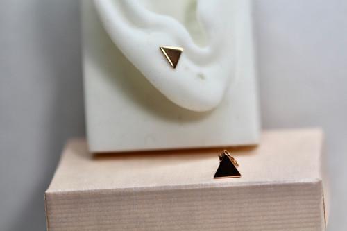 14K Rose Gold Triangle Stud Earrings